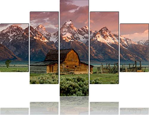 Grand Tetons Canvas House Decorations Living Room 5 Piece/Set Canvas Wall Art,Wyoming,USA Pictures Painting Modern Home Decor Giclee Framed Stretched Ready to Hang Posters and Prints(60''Wx40''H) -