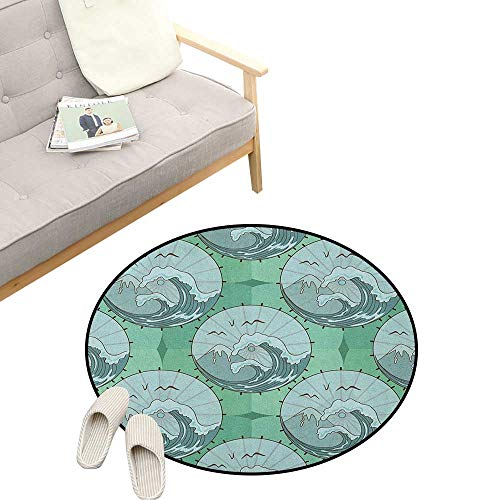 (Nature Non-Slip Round Rug ,Wave Mountain and Seagulls Nature Scenery in Circle Chinese Umbrella Pattern Art, Washable Living Room Bedroom Kids 39