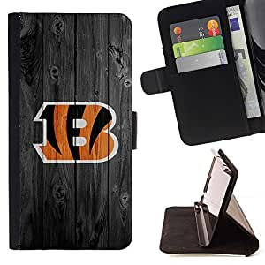 For Samsung Galaxy S6 EDGE Cincinnati Bengal Football Style PU Leather Case Wallet Flip Stand Flap Closure Cover