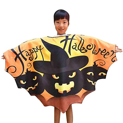 Foncircle Child Shawl - Halloween Shawl - Boys Girls Print Cape Scarf Poncho Wrap Novelty Bat Clothes (Orange)