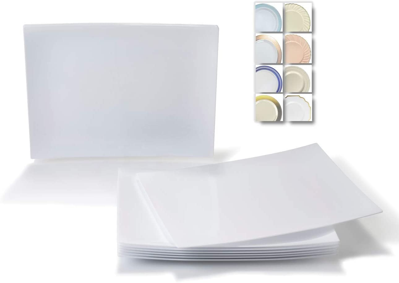OCCASIONS 120 Plates Pack, Heavyweight Disposable Wedding Party Japanese Style/Sushi Plastic Plates 7'' x 5.5'' (Appetizer/Dessert Plate, Asia, White) 51mnkYI-NJL
