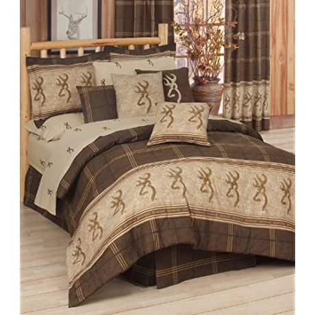 Browning Buckmark 9 Piece Full Comforter Set Entire Set Includes 1 Comforter 1 Flat Sheet 1 Fitted Sheet 2 Pillow Cases 2 Shams 1 Square Accent Pillow 1 Bedskirt SAVE BIG ON BUNDLING