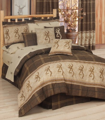 Browning Buckmark - 10 Piece Full Comforter Set - Entire Set Includes: (1 Comforter, 1 Flat Sheet, 1 Fitted Sheet, 2 Pillow Cases, 2 Shams, 2 Square Accent Pillows, 1 Bedskirt) SAVE BIG ON BUNDLING! by Kimlor