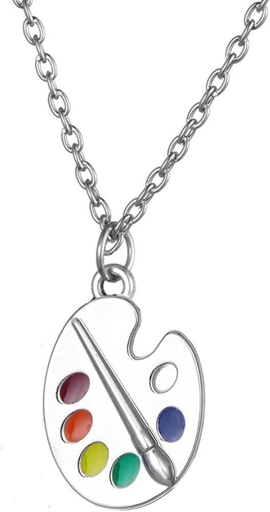 JOTW Artist Paint Palette /& Paint Brush Pendant with a 16 Inch Snake Necklace