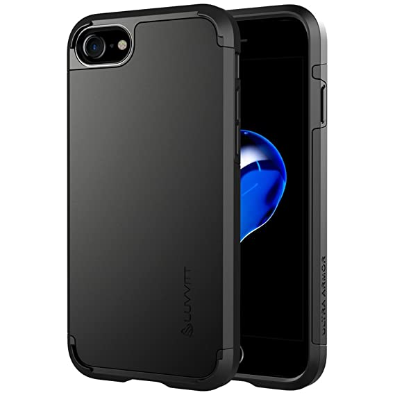 sports shoes f36f3 e77ae iPhone 8 Case, LUVVITT [Ultra Armor] Shock Absorbing Case Best Heavy Duty  Dual Layer Tough Cover for Apple iPhone 8 (2017) - Black