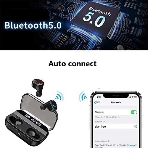 Wireless Earbuds, BLZK Latest Bluetooth 5.0 True Wireless Bluetooth Earbuds, with bass 3D Stereo Sound Wireless Headphones, Built-in Microphone LED Digital Shows Charging Charge (Black)