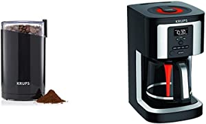 KRUPS F203 Electric Spice and Coffee Grinder with Stainless Steel Blades, 3 oz / 85 g with EC322, 14-Cup Programmable Coffee Maker, Professional Permanent Gold-Tone, Black