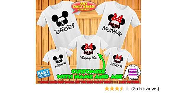 23c90addd Amazon.com: Disney family matching custom t-shirts, Family vacation disney  shirts,Mickey Minnie mouse Personalized shirt, Personalized Disney Shirts  for ...
