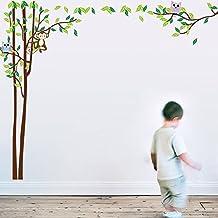 BIBITIME Huge Jungle Owl Monkey Wall Decals Kids Bedroom Baby Nursery Stickers Art Room
