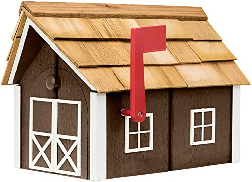 Painted Amish Mailbox with Cedar Roof and Windows & Door Trim (Charcoal Brown with White Trim)