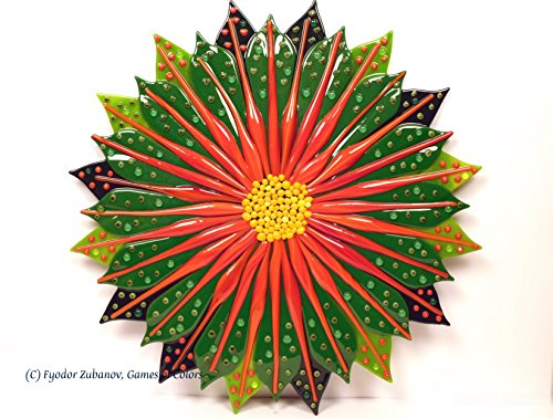 A fused glass wall art object ''A Fancy Flower'' by Games Of Colors
