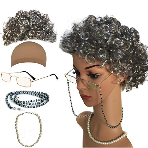 Old Lady Cosplay Set - Grandmother Wig, Wig Cap,Madea Granny Glasses, Eyeglass Chains Cords Strap, Pearl Beads -
