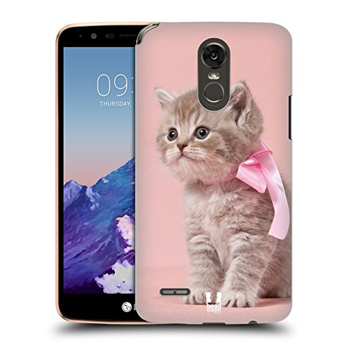 Case+Stylus, Ultra-Thin Polycarbonate Protector Fits LG Stylo 3 Plus/Stylus 3/L83BL/L84VL/ MP450/TP450/LS777 (Stylo 3)/K10 Pro 2017 Hard Back Cover Snap on Pink Cute Cat/Kitty/Kitten with Bow