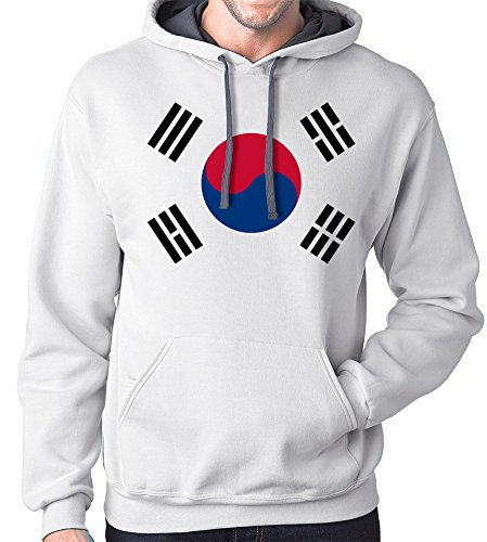 South Korea Flag Hoodie Sweatshirt, Medium, White