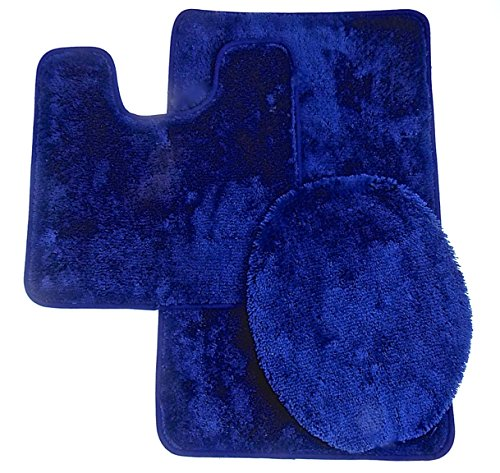 Royal Plush Collection 3-Piece Bathroom Rug Set, Bath Mat, Contour and Toilet Cover (Standard Round Size Toilet) - Navy