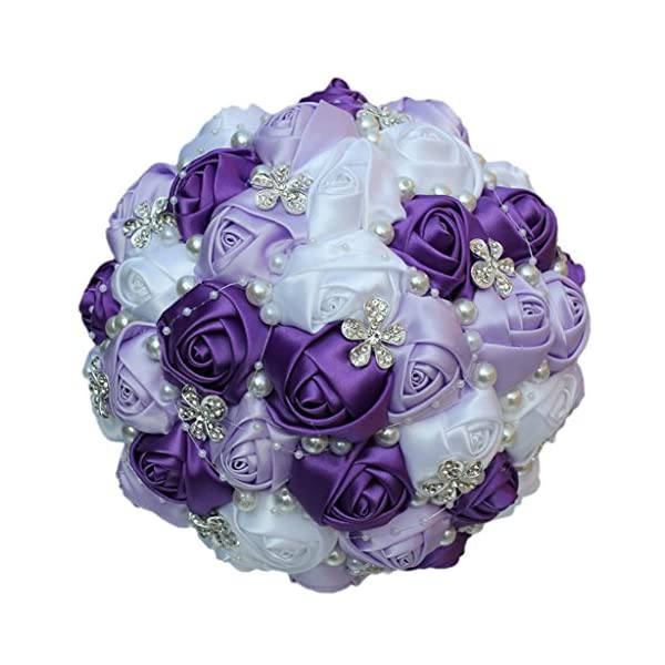 S-SSOY Wedding Bouquet Bride Bridal Brooch Bouquets Bridesmaid Bouquet Diamond Pearl Ribbon Valentine's Day Confession Party Church with Free Corsage Flower, Purple+Lilac+White