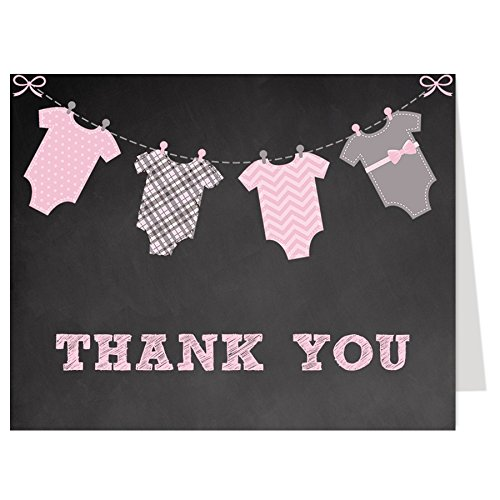 Free Baby Shower Thank You Notes - Chalkboard Onesie, Thank You Cards, Chalkboard, Little Miss, Baby Shower Sprinkle, Spring Shower, Pink, Gray, 50 Folding Notes with Envelopes, FREE Shipping