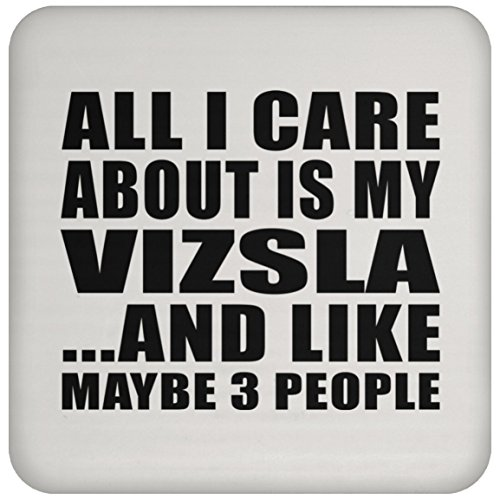 Gift Idea All I Care About is My Vizsla and Like Maybe 3 People - Drink Coaster Non Slip Cork Back Protective Mat Pet Themed for Owner Birthday Christmas Anniversary ()