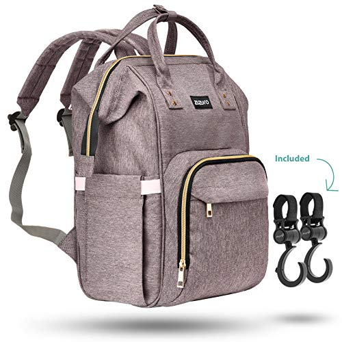 Zuzuro Diaper Mommy Bag – Waterproof Backpack w/Large Capacity & Multiple Pockets for Organization. Ideal for Travel Nappy Bags – W/Insulated Bottle Pocket. 2 Stroller Hooks Incl (Gray)
