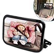 Baby Car Back Seat Mirror by Natple Car Mirror for Rear Facing View Infant Car Interior Adjustable Child Seat Safety Mirror - Wide Convex Shatterproof Glass (Black)