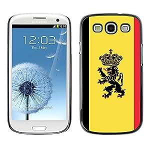 ROKK CASES / Samsung Galaxy S3 I9300 / MAJESTIC CREST FLAG / Delgado Negro Plástico caso cubierta Shell Armor Funda Case Cover