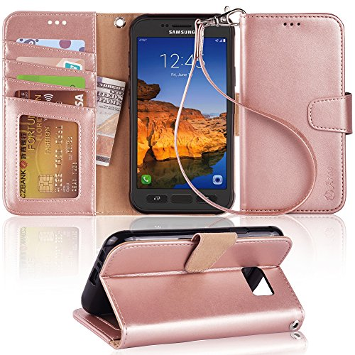 Arae Samsung Galaxy s7 Active Wallet Case with Kickstand and flip Cover (not for s7), Rosegold