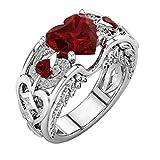 Fheaven 1 Pcs Ring Silver Natural Ruby Gemstones Birthstone Bride Wedding Engagement Heart Ring (7, Red)