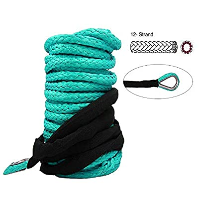 """BANG4BUCK 1/4"""" x 50' Synthetic Winch Rope Car Recovery Cable 7000 LB+ Breaking Strength with Timble for Winches SUV ATV UTV Vehicle Boat Ramsey Cars"""