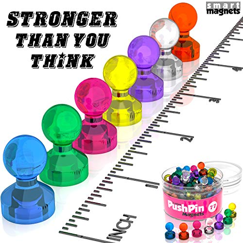 77 Colored Refrigerator Magnets Strong - Neodymium Push Pin Magnets for Refrigerator - Cute Magnets Funny Teacher Gifts - Little Magnets Refrigerator - Small Magnets for Whiteboard - Push Pin Magnet