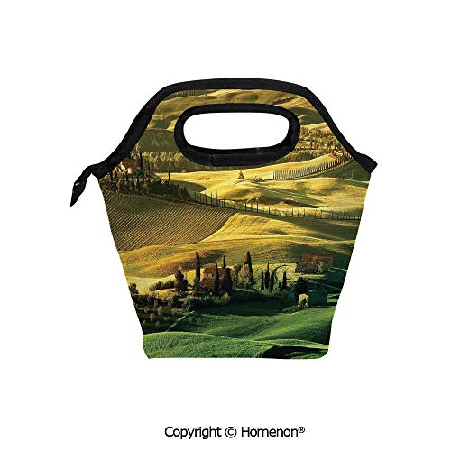 Insulated Neoprene Soft Lunch Bag Tote Handbag lunchbox,3d prited with Peaceful of Pienza Tuscany Vineyard Trees Meadow Hill Ancient House,For School work Office Kids Lunch Box & Food Container