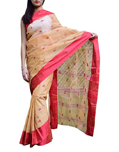 GiftPiper Bengali Tant Saree with Booti Motifs (Red & Beige)