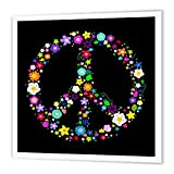 3dRose HT_58312_3 Floral Peace Symbol-Flowery Hippy or Hippie Sign-Colorful Flowers-Iron on Heat Transfer Paper for White Material, 10 by 10-Inch