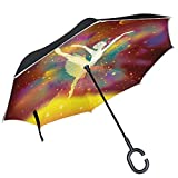 ALAZA Ballet Dancer Colorful Galaxy Inverted Double Layer Windproof Reverse Umbrella