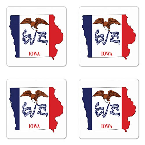 Lunarable Iowa Coaster Set of Four, Outline Map and Flag of Hawkeye State Bald Eagle USA, Square Hardboard Gloss Coasters for Drinks, Cobalt Blue Vermilion White and Pale Brown ()
