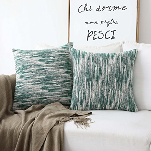 Modern Decorative Pillow (HOME BRILLIANT Abstract Textured Pillow Covers Decorative Cushion Covers for Couch, 18x18 inches, 2 Pack, Green)