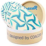 COACOR Absorbent Ceramic Coasters for Drinks | Highly-Absorbent Ceramic Stone with Cork Back | Set of 4 Modern Unique Designs | Turquoise & Blue | Gift Box