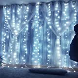 Icicle Lights Twinkle Light Hanging Curtain Window Lights Indoor Outdoor 600 Led Wall String Lights Bedroom Holiday Hotel Wedding Party 19.6ft Length x 9.84ft Width Cold White