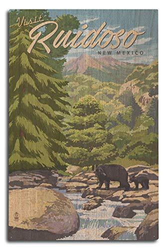 (Lantern Press Ruidoso, New Mexico - Black Bears and Stream (10x15 Wood Wall Sign, Wall Decor Ready to Hang))