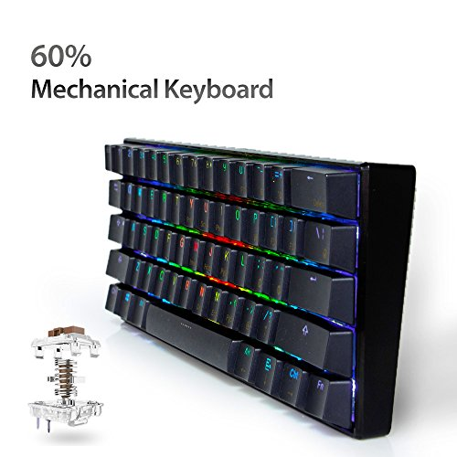 LeaningTech LTC K61 61-Key RGB LED Backlit Bluetooth Wireless/Wired Multi-Device Mechanical Keyboard for PC / Mac / iPad / iPhone / Smartphone / Laptop, Brown Switch by LEANINGTECH (Image #4)
