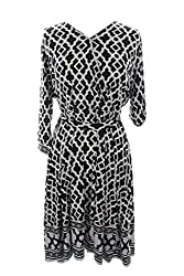 Inc International Concepts Plus Size Black Faux-Wrap Dress 2X