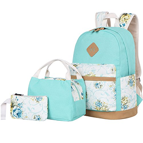 BLUBOON Teens School Backpack Set Girls Bookbags Canvas Laptop Backpack Lunch Bag Pencil Purse (Mint Green)