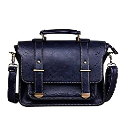 EOSUSI Women's Faux Leather Briefcases Messenger Bag Ladies Handbags, Blue