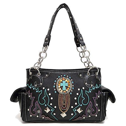 Blancho Ropa de cama Womens [Sun God] PU bolso de cuero Moda elegante bolsa de tela Handbag-black