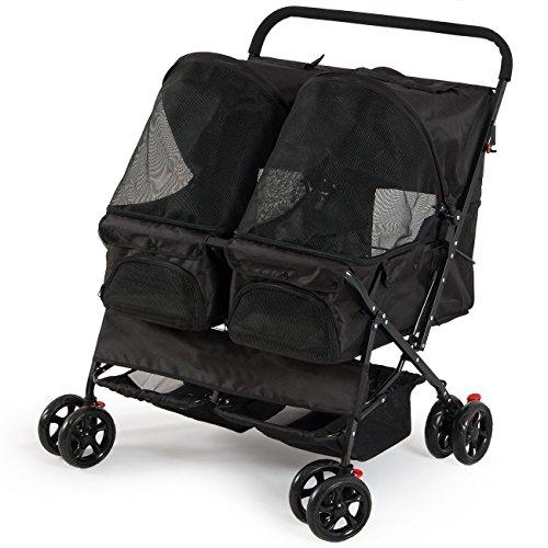 twin-carriage-pet-stroller-carrier-4-wheel-black-easy-folding-black-deluxe-fold-travel-dog-cat