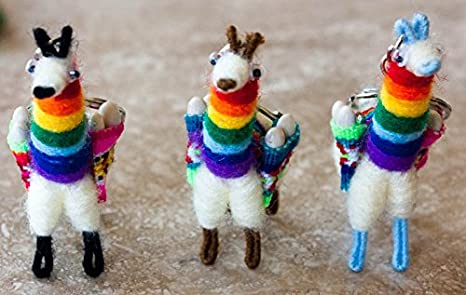 Llama Keychain Good Quality Alpaca Wool Cuzco Rainbow Set of 2