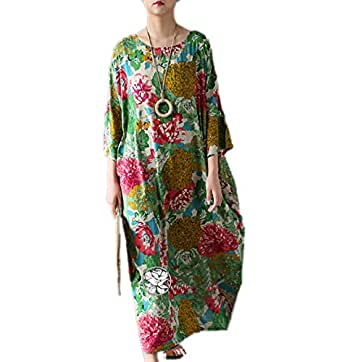 "Yesno TH6 Women 45"" Long Maxi Loose Baggy Floral Dress Arab Caftan 100% Cotton Casual Oversize 3/4 Bat-Wing Sleeve"