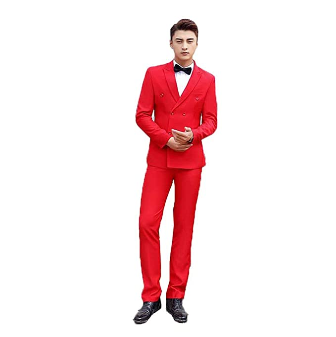 Amazon.com: Traje de hombre de alta gama, traje de doble ...
