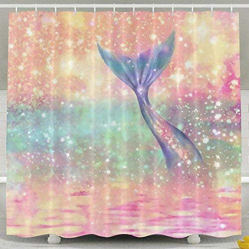 Girly Sparkling Mermaid Fashion Printing Home Life Shower Curtain Opaque Shelter Waterproof Bathing Size Adjustable