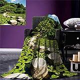 smallbeefly Zen Digital Printing Blanket Stone Path in Japanese Garden Lake Lotus Leaves Meditation Nature Scenery Summer Quilt Comforter 80''x60'' Lime Green Sky Blue