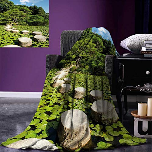 smallbeefly Zen Digital Printing Blanket Stone Path in Japanese Garden Lake Lotus Leaves Meditation Nature Scenery Summer Quilt Comforter 80''x60'' Lime Green Sky Blue by smallbeefly